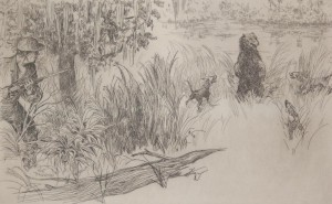 Hagerman, Kent. Florida Bear Hunt. Etching, 6 by 9 one half inches.