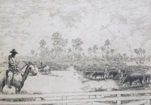 Hagerman, Kent. Lakeland. Florida Cattle Empire. Etching,