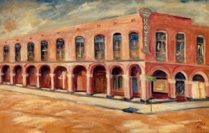 Hall, Max. Tampa. El Pasale Hotel, Ybor City. Oil on board, 22 by 34 inches. 1