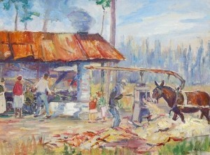 Harley, Rachel. Clearwater, Sugar Harvest. Oil on board, 17 and three quarters by 23 and seven eights inches.