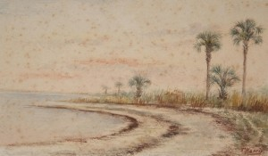 Harris, Thusnelda. Daytona Beach. Watercolor, 4 one half by 7 one quarter inches.