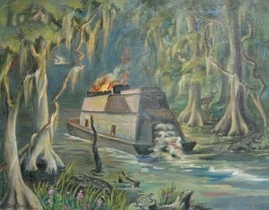 Harrison, Edith. Jacksonville. Oklawaha Steamer, 1954. Exhibited, Florida Federation of Art.  Oil on canvas, 22 by 28 inches.