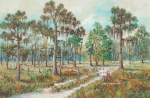 Hawkins, Frank S., St. Petersburg. For Sale Twenty Acres. Oil on canvas, 23 and three quarters by 36 inches.
