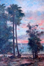 Higgins, George Frank. Boston Art Club. Boat on Lake. Oil on canvas, 13 by 19 inches.