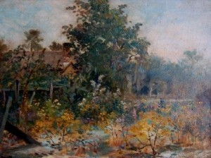 Higgins, George Frank. Boston Art Club. Florida Retreat. Oil on canvas, 12 by 16 inches.