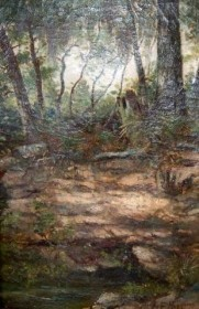 Higgins, George Frank. Florida Jungle. Oil on canvas, 12 by 18 inches.