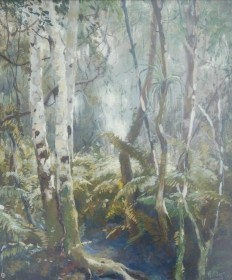 Hilder, Howard, Dade County Hammock. Gouache, 15 and one half by 18 one  half inches.