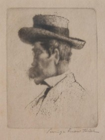 Hill George Snow. Self portrait in Paris. Etching, 3 by 4 inches.