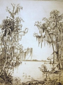 Hill, Polly Knipp. Booker Creek, Florida. Etching 6 58 by 8 58.