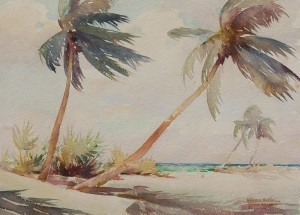 Hilton, Harold. Jacksonville. Boca Ciega Palms. Watercolor, 10 and  one half by 14 and one half inches.
