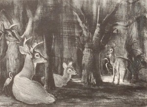 Huntley, Victoria Hudson. Florida Deer, 1949. Etching 9 58 by 13 14 inches.