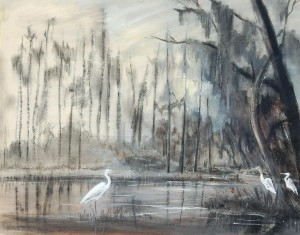 Huntley, Victoria Hudson. Florida Swamp with American Egret and Wood Ibis, 1947.