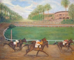 Kahn, Jane. Hialeah Racetrack. Oil on canvas, 25 by 30 inches.