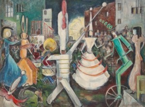 Kellner, Charlotte M. Fiesta, Hollywood, Florida circa 1950. Oil on board, 29 by 39 inches.