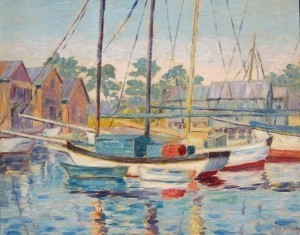 King, Janet C. St. Petersburg. Shrimp Boats, Tarpon Springs.  Oil on board, 16 by 20 inches. Exhibition card on back, Florida Federation of Art, 2nd Annual Exhibit, 1929.