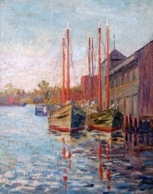 King, Janet. Hibbs Boats, Bayboro Harbor, St. Petersburg, 1929.  Oil on board, 15 and seven eights by 19 and seven eights inches.