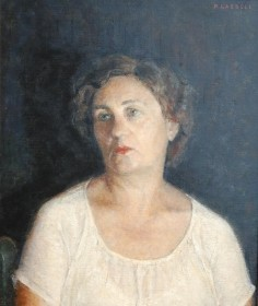 Laessle, Paul. Madame Albertine deBempt Laessle, lived in Miami with her husband sculptor Albert Laessle and her stepson, artist Paul Laessle. Oil on board, 20 by 24 inches.