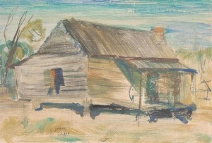Lazzari, Pietro. Study for mural for Jasper, Florida post office, 1942. Watercolor, 8 and one half by 12 and three quarters inches.