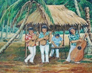 Leonetti, Mayme. Tampa. Polynesian Musicians. Oil on canvas, 24 by 30 inches.