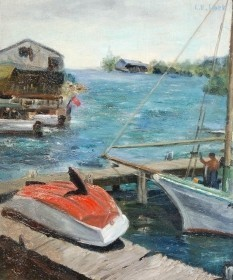 Lock, Laura. Sarasota. Blue Springs. Oil on board, 16 by 19 inches.