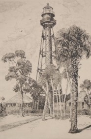 Locke, Walter, R. Anclote Light, Fla. Etching, 8 three eights by 12 and three eighths.