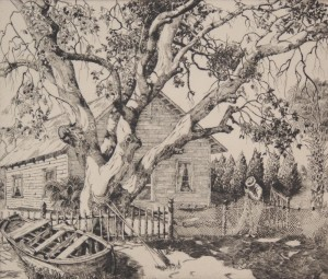 Locke, Walter, R. The  Net-Mender. 37. Etching, 8 one half by 10 inches.