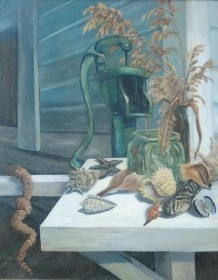 May, Elizabeth Murdoch. Miami. Sanilbel Still Life. Oil on board, 24 by 30 inches.  Best Overall Painting, Miami Art League, October 1952.