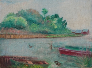McCollister, Dora G., Sarasota. Oil on canvas board, 12 by 16 inches. Signed on back, From Sowes (sic) boat yard, Sarasota, Fla. 1943.
