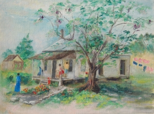 McCollister, Dora G., Sarasota. Oil on canvas board, 12 by 16 inches. Signed on back, Old Town, Sarasota, Fla. 1943. A China Berry Tree.