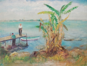 McCollister, Dora G., Sarasota. Oil on canvas board, 16 by 20 inches. Signed on back Osprey, near Sarasota, Fla. D.G.M., Feb. 1941.
