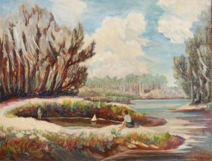 McKelvey, Ralph, Junior Yacht Basin, Clearwater, 1941. Oil on canvas 28 by 36 inches.