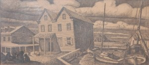 Merrick, George. Coral Gables. Quiet Backwater. Trial proof etching, 5 by 10 one half inches.