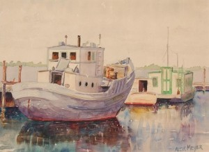 Meyers, Alvin, Ft. Myers, 14. Boat and houseboat. Watercolor, 11 by 15 one half inches.