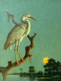 Moore, Benson Bond. Sarasotra. Great While Heron. Oil on board, 14 by 18 inches.