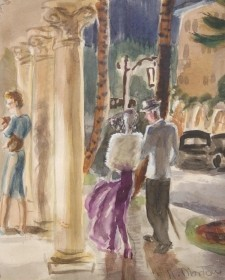 Morton, Katherine Gibson. Worth Avenue, Palm Beach. Watercolor, 8 one half by 10 one half inches. ,