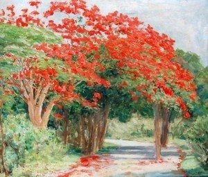 Newell, Natalie, Miami.  Attributed to. Royal Poinciana, Alhambra Circle, Coral Gable, 1923. Oil on board, 20 by 24 inches. Miami Herald clipping on back February 1923.
