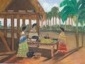 Penalane, Jimmy. Seminole Camp. Oil on board 36 by 40 inches.