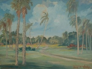 Pfister, Jean Jacques, Fairchild Gardens, 1948. Oil on board, 13 and one half by 18 inches.