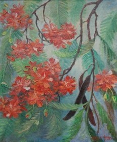Pfister, Jean Jacques. Miami. Royal Poinciana Bloom. Oil on canvas, 25 by 30 inches.