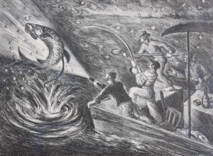 Pierce, Waldo. Tarpon Fishing, Gulf of Mexico. Etching, 9 and three quarters by 13 one quarter inches. Ernest Hemingway in stipped shirt.