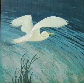 Plath, Karl. Sprit of  The Everglades, American Egret. Oil on board, 30 one half by 30 one half.