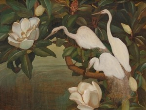 Porth, Lawrence. Tampa. Oil on board, 27 by 36 inches. Egrets and Magnolias. Signed on front Van Porth.