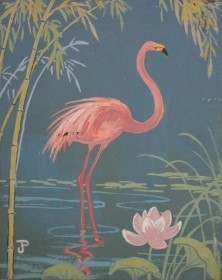 Postle, Joy. Flamingo and Lotus. Oil on board,  8 by 10 inches.