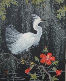 Postle, Joy. Snowy  Egret. Oil on board, 8 by 10 inches.