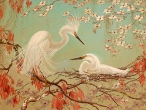 Postle, Joy. Snowy Egrets, Dogwoood and Swamp Maple. 1950. Oil on board, 30 by 40 inches.