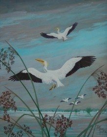 Postle, Joy. White Pelicans and Bulrushes. Tempera, 16 by 20 inches.