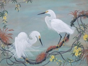 Postle. Joy. Orlando. Snowy Egrets, Yellow Jasmine and Air Plants. Oil on board, 30 by 40 inches.