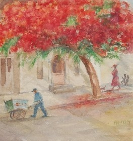 Reilly, Elvira. Royal Poinciana on Whitehead Street. Watercolor, 16 one half by 17 one half inches.