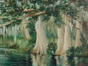 Robinson, Bernard H., Orlando. Oil on board, 12 by 16 inches. Saturday May 18, 1946, Cypress Trees, Lake Maitland, Florida.