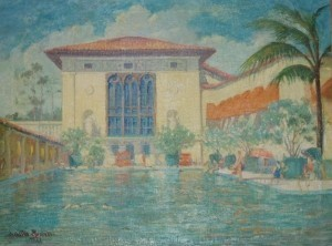 Russell, Walter. Biltmore Hotel Pool, Coral Gables, 1927. Oil on canvas, 30 by 40 inches.
